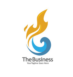 oil gas energy and fire concept logo vector image
