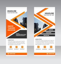Orange triangle Business Roll Up Banner template vector