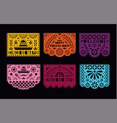 papel picado cards set mexican paper decorations vector image