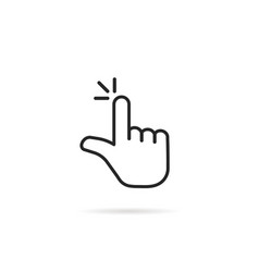 Pointer hand like thin line click icon vector
