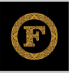 Premium elegant capital letter f in a round frame vector