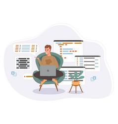 Programmer working on web development code vector