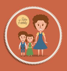 Retro family mother with their children vector