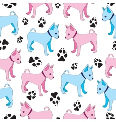 Russian Toy Terrier seamless pattern with dogs vector image