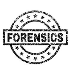 Scratched textured forensics stamp seal vector