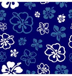seamless flower pattern over blue vector image