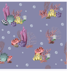 seamless pattern with sea inhabitans and herb vector image