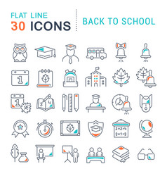 Set line icons back to school vector