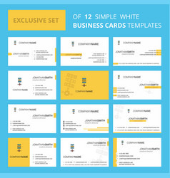 set of 12 networks setting creative busienss card vector image