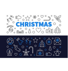 set of 2 christmas outline banners xmas vector image
