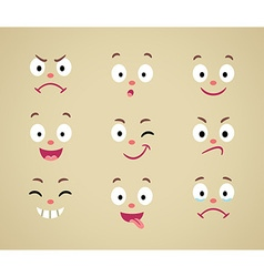 Set of cartoon emotional faces vector