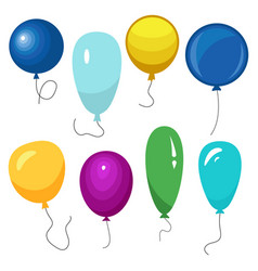 set of eight colorful balloons with a string vector image