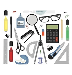 Set of stationery tools no outlines vector