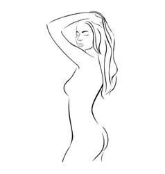 side view female sensual stylized half body vector image