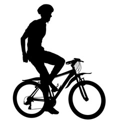 silhouette of a cyclist male vector image