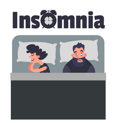 Sleepless insomnia concept art tired man on the vector