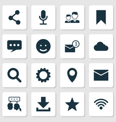 Social icons set collection of pin conversation vector