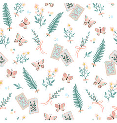 spring seamless pattern with butterflies vector image