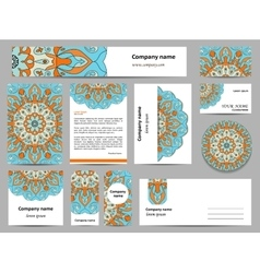 Stationery template design with green mandalas vector