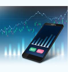 stock exchange market data on the smartphone vector image