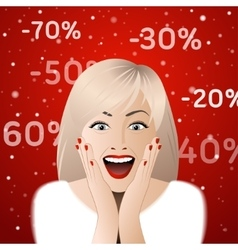 Surprised woman portrait with discount signs vector