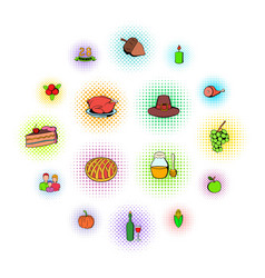 thanksgiving day set icons vector image