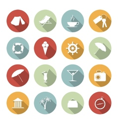 Traveling and vacation flat icons vector image