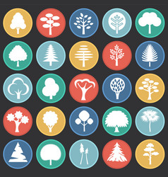 Trees icon set on color circles black background vector