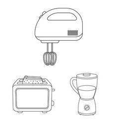 Types of household appliances outline icons in set vector