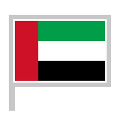 united arab emirates flag on flagpole icon vector image