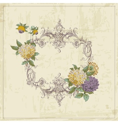 Vintage card - with retro frame and flowers vector
