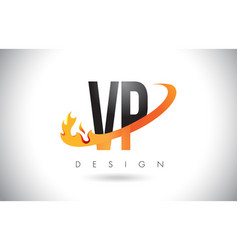 Vp v p letter logo with fire flames design and vector