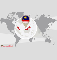 World map with magnified malaysia vector