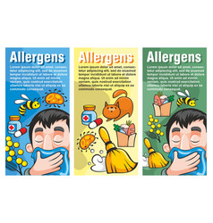 cartoon colorful allergy vertical banners vector image