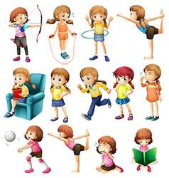 Girls doing different activities vector image vector image