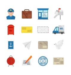 Post Service Icons Flat vector image vector image