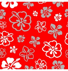 seamless flower pattern over red vector image vector image
