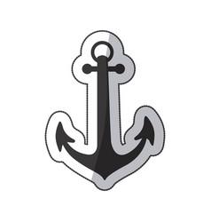 sticker black silhouette anchor icon design vector image