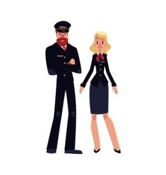 Bearded airline pilot and blond stewardess in vector