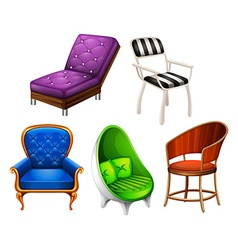 Chairs set on white vector image