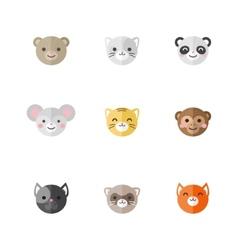 flat set of funny cartoon animals vector image