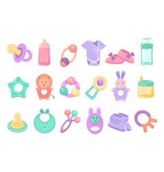 toys and accessories for baby sett newborn infant vector image