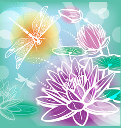 background with flowers lotus and dragonfly vector image