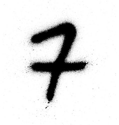graffiti sprayed number 7 seven in black on white vector image vector image
