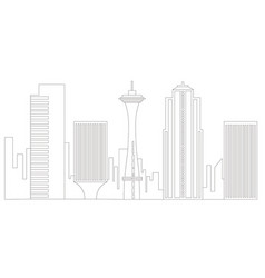 seattle cityscape outline vector image
