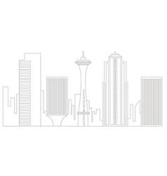 seattle cityscape outline vector image