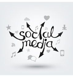 Social media text design Hand drawn arrows with vector image