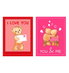 valentines day postcards with cute fluffy bears vector image