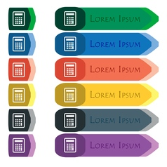 Calculator icon sign Set of colorful bright long vector image vector image