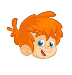 cartoon boy head vector image vector image